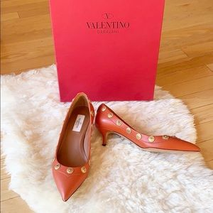 VALENTINO kitten heels size 37 orange GARAVANI